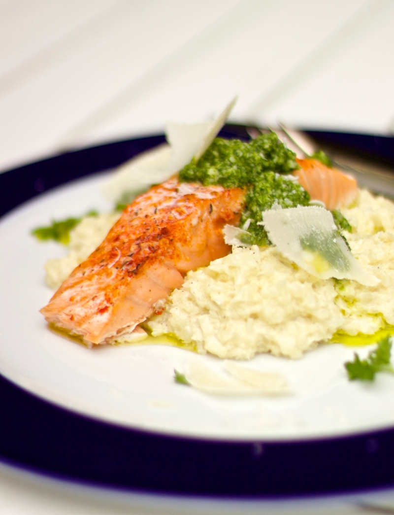 """Salmon with cauliflower """"risotto"""" and parsley pesto"""