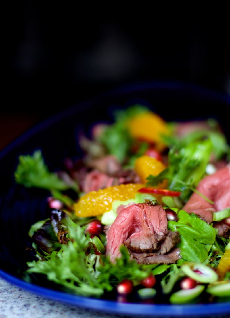 Thai inspired roast beef salad with orange and pomegranate