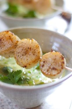 Homemade green curry soup with scallops
