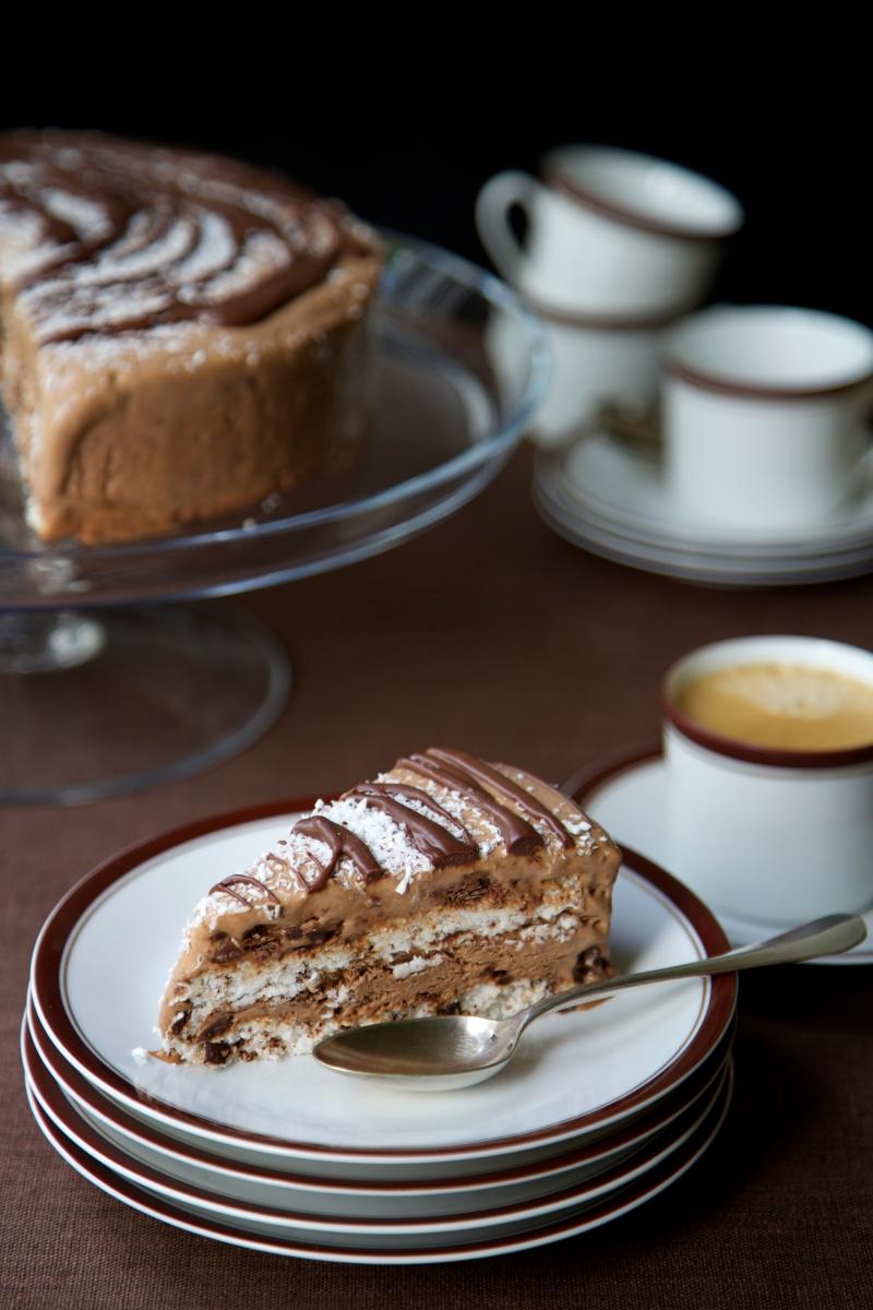 Homemade chocolate and coconut ice cream cake, sugar and gluten free
