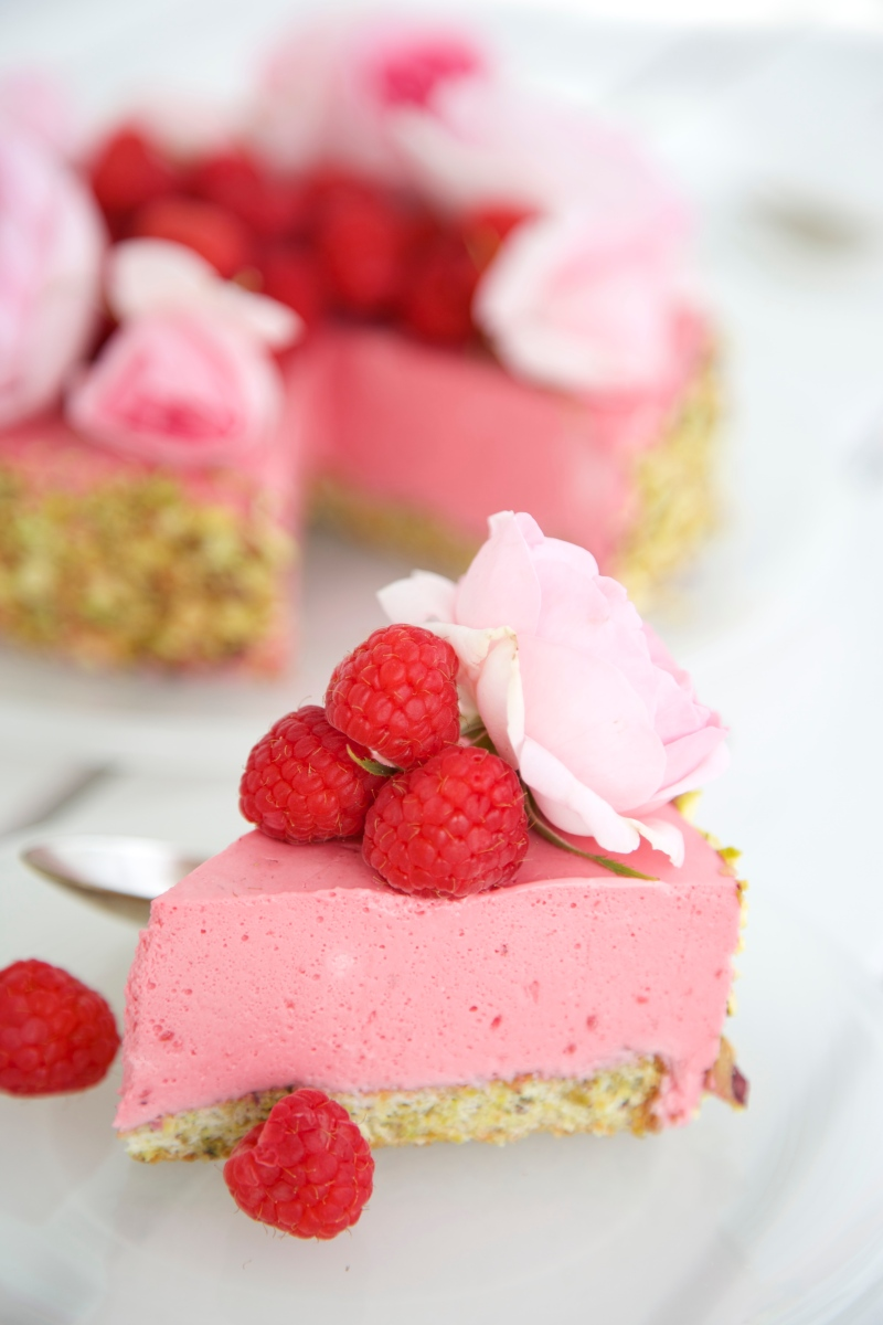 Raspberry mousse cake with pistachio sponge, low carb, sugar- and gluten free