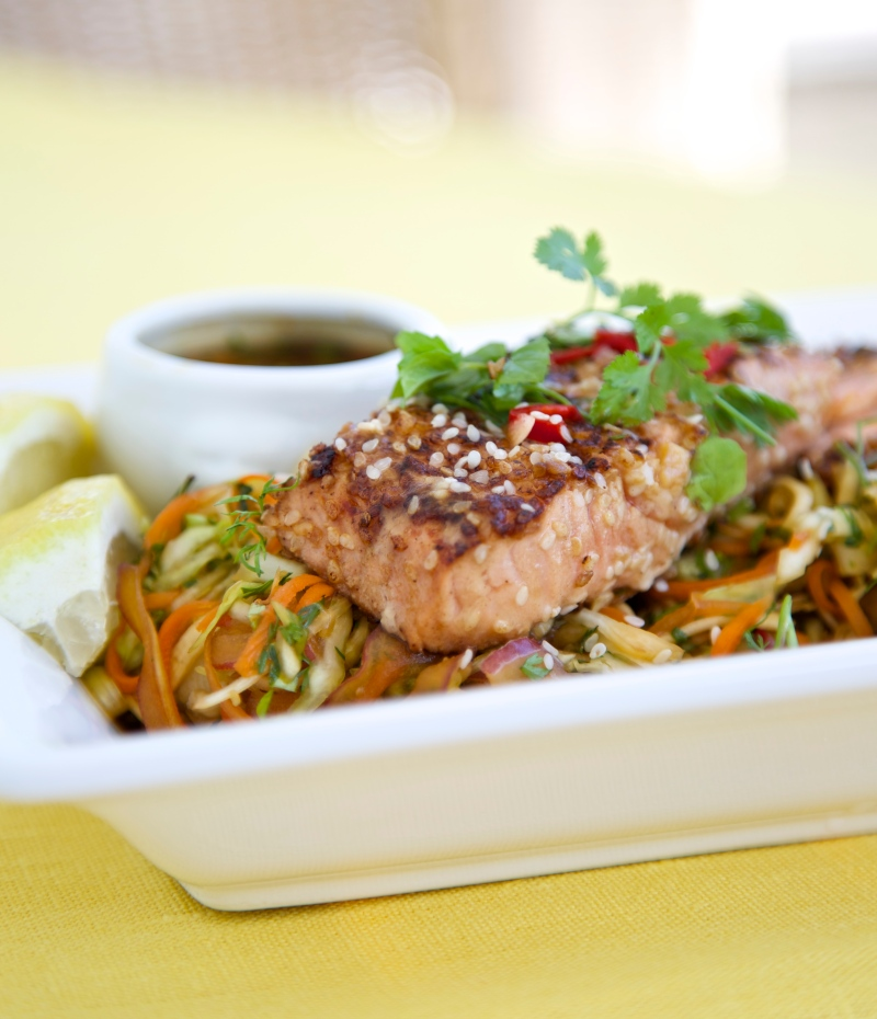 Thai inspired cabbage salad with grilled marinated salmon
