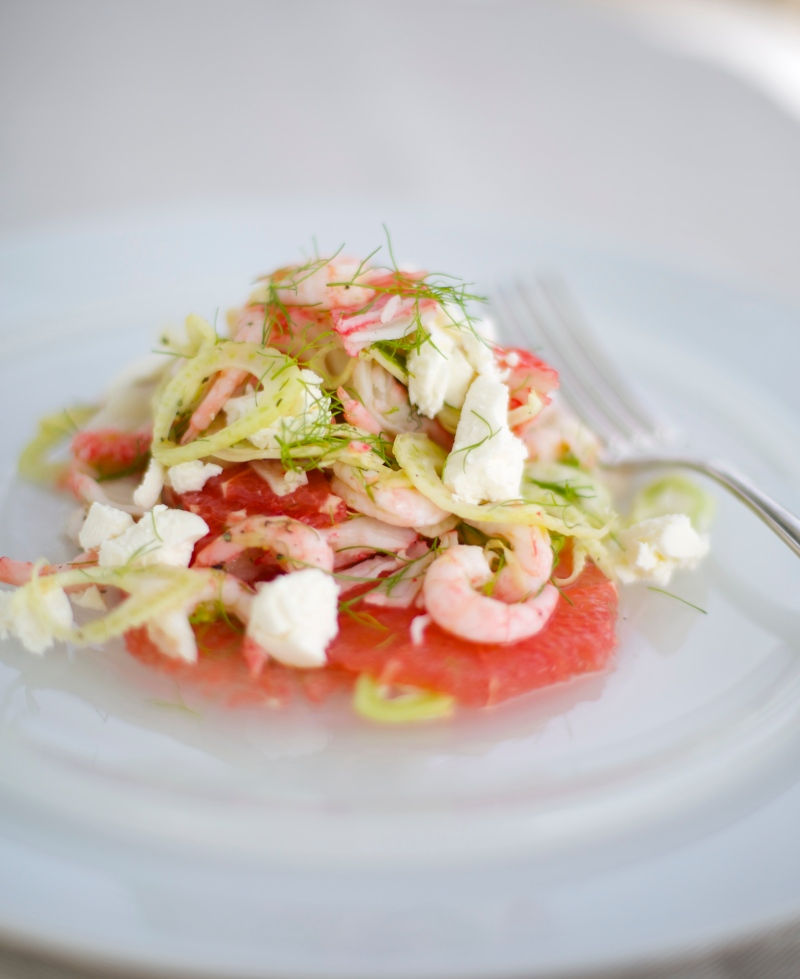 Grapefruit, fennel and shrimp salad