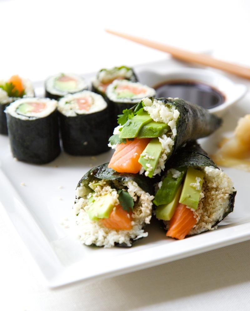 Homemade low-carb Maki and Temaki with cauliflower rice