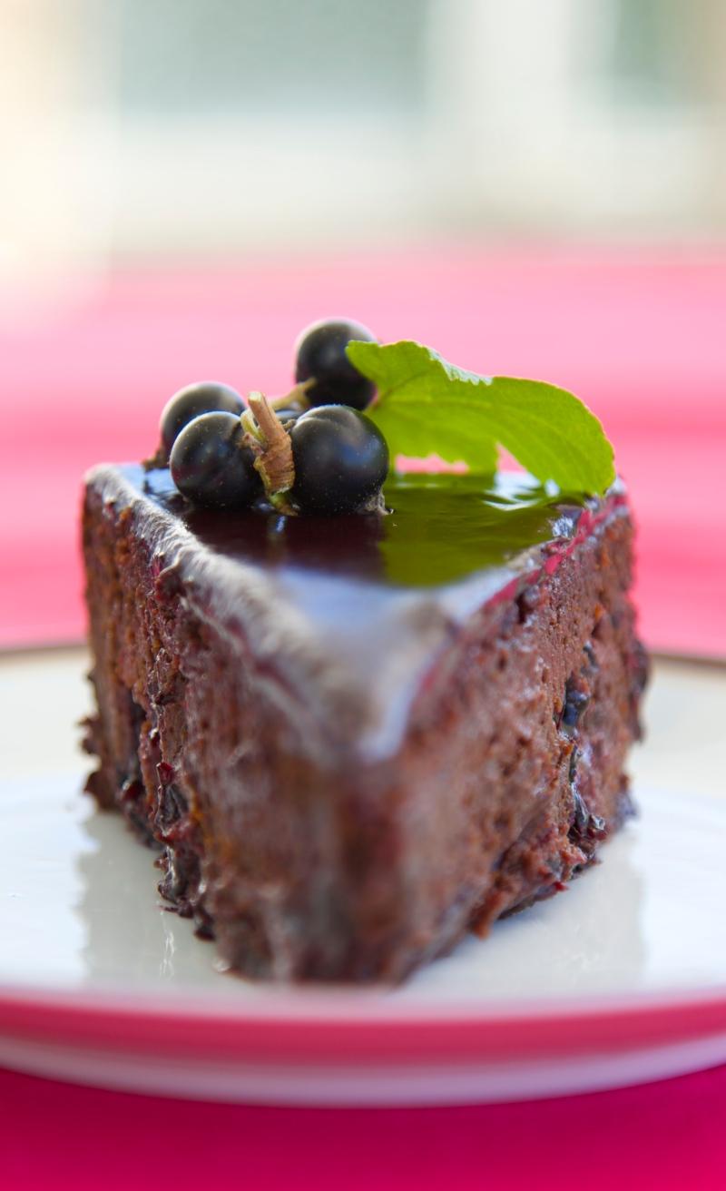 Decadent blackcurrant chocolate cake, sugar and gluten free