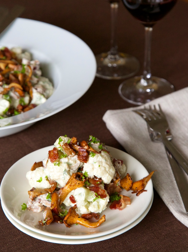 Cauliflower in Creme Sauce with Chanterelle and Bacon