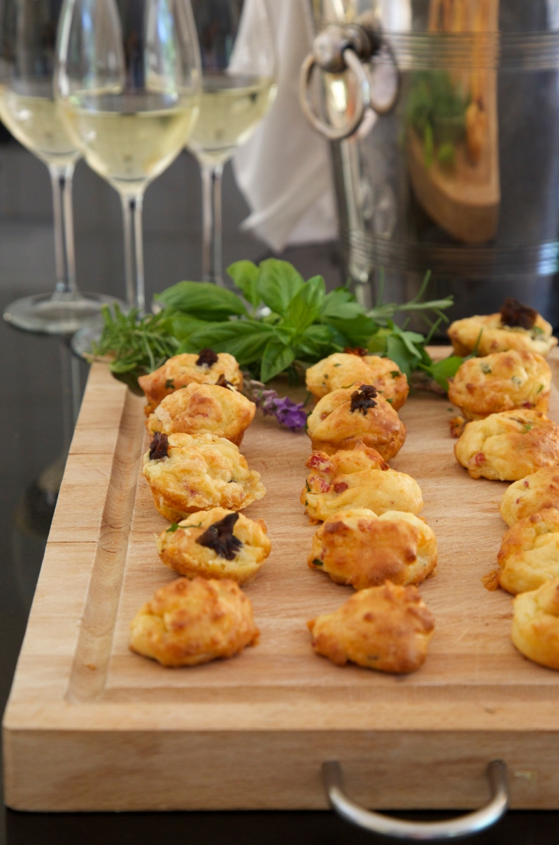 Cheese Profiteroles with Funnel Chanterelle and Bacon, low-carb and gluten free