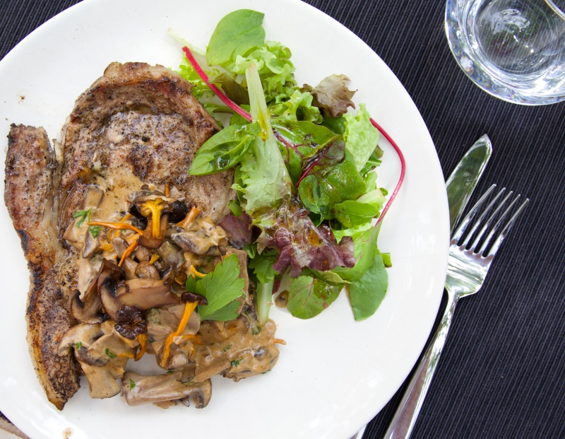 Grilled Veal Chops with mushroom sauce and salad