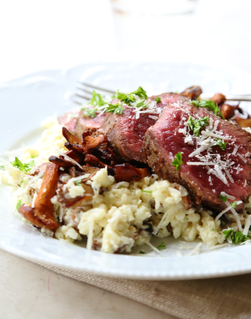 """Filet of beef with chanterelle cauliflower """"risotto"""""""