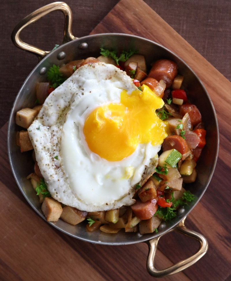 Sausage Hash with Fried Eggs - low carb