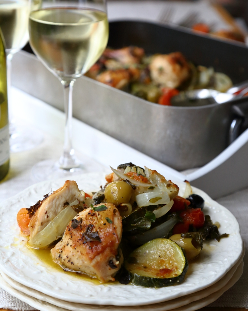 Roasted chicken with white wine and parmesan baked vegetables