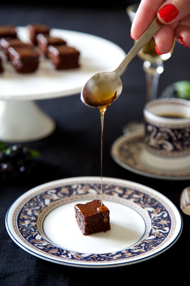 Port-glazed brownie squares, low-carb and gluten free