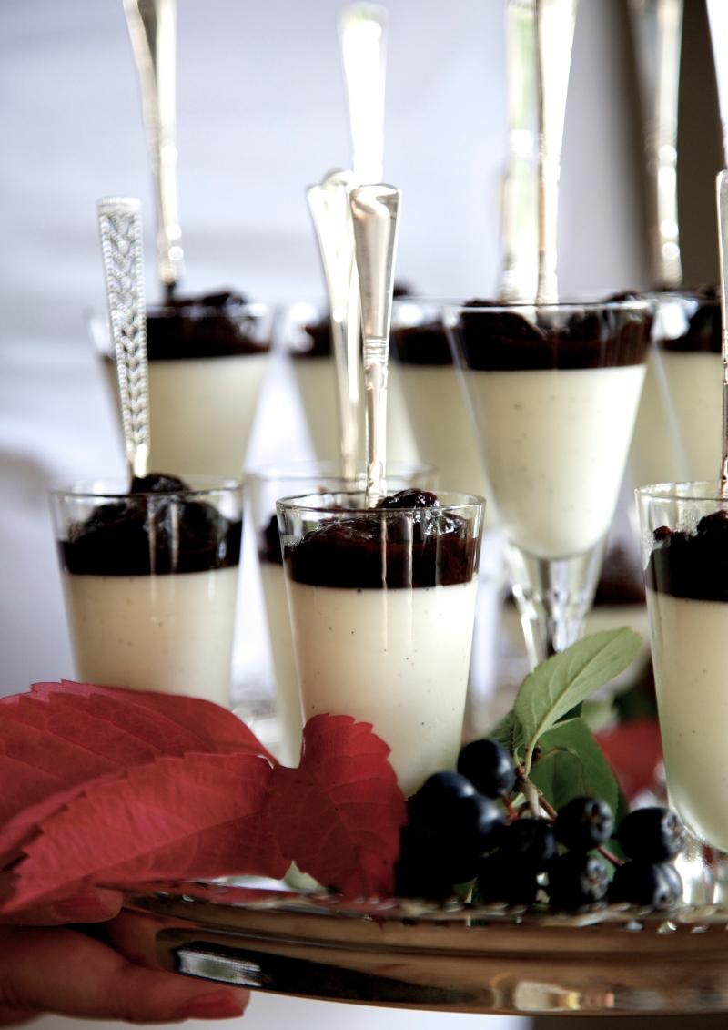 Classic Panna Cotta with Red Wine Prune sauce