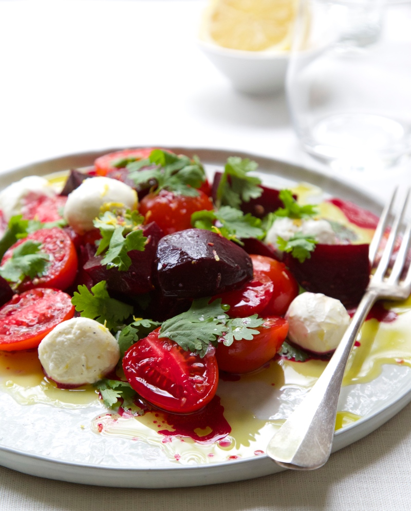 Beet and Tomato Salad with Coriander and Labna cheese