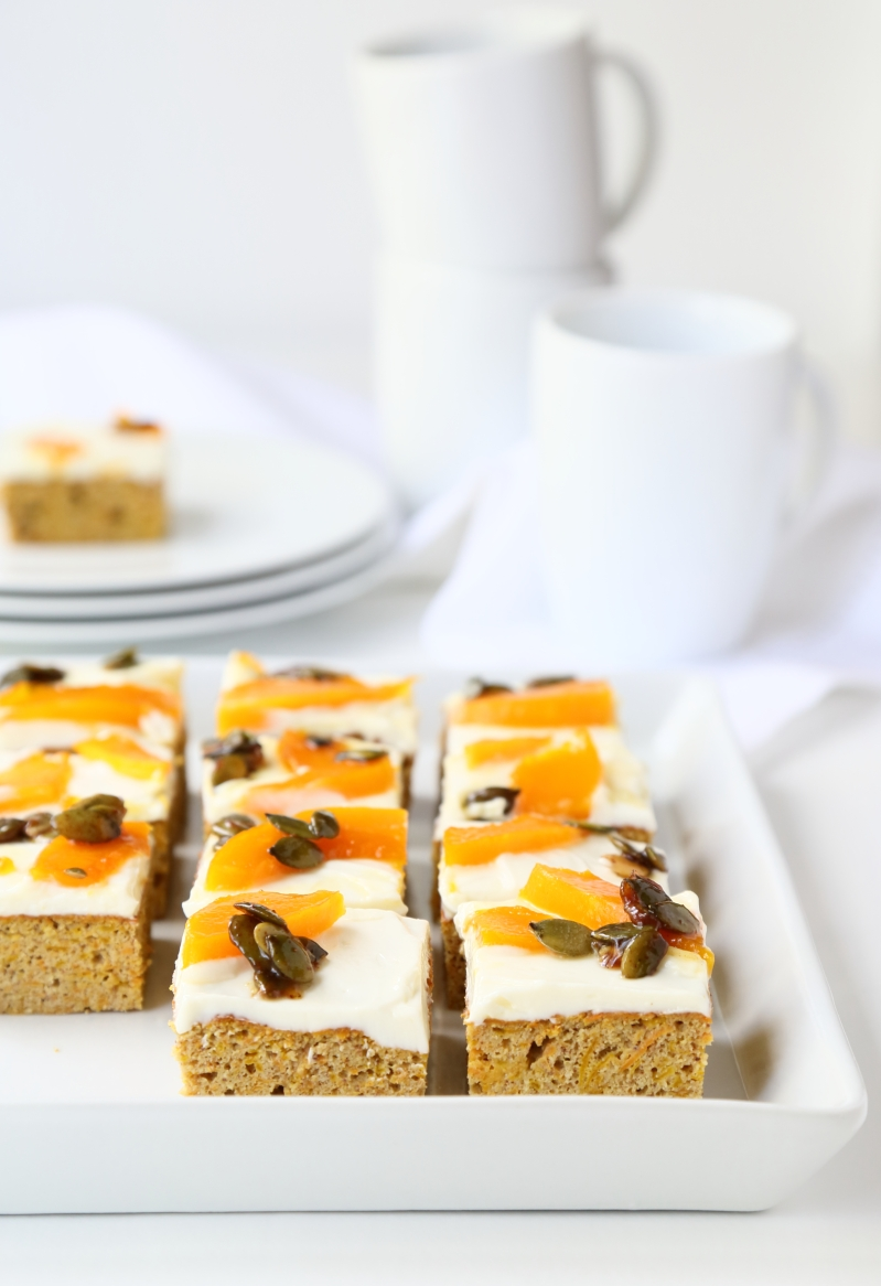 Carrot- and Pumpkin Cake with Cream Cheese Frosting, low GI and gluten free