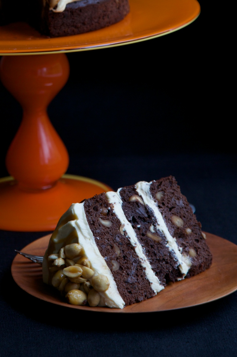 Small but tall Chocolate and Peanut Caramel Cake