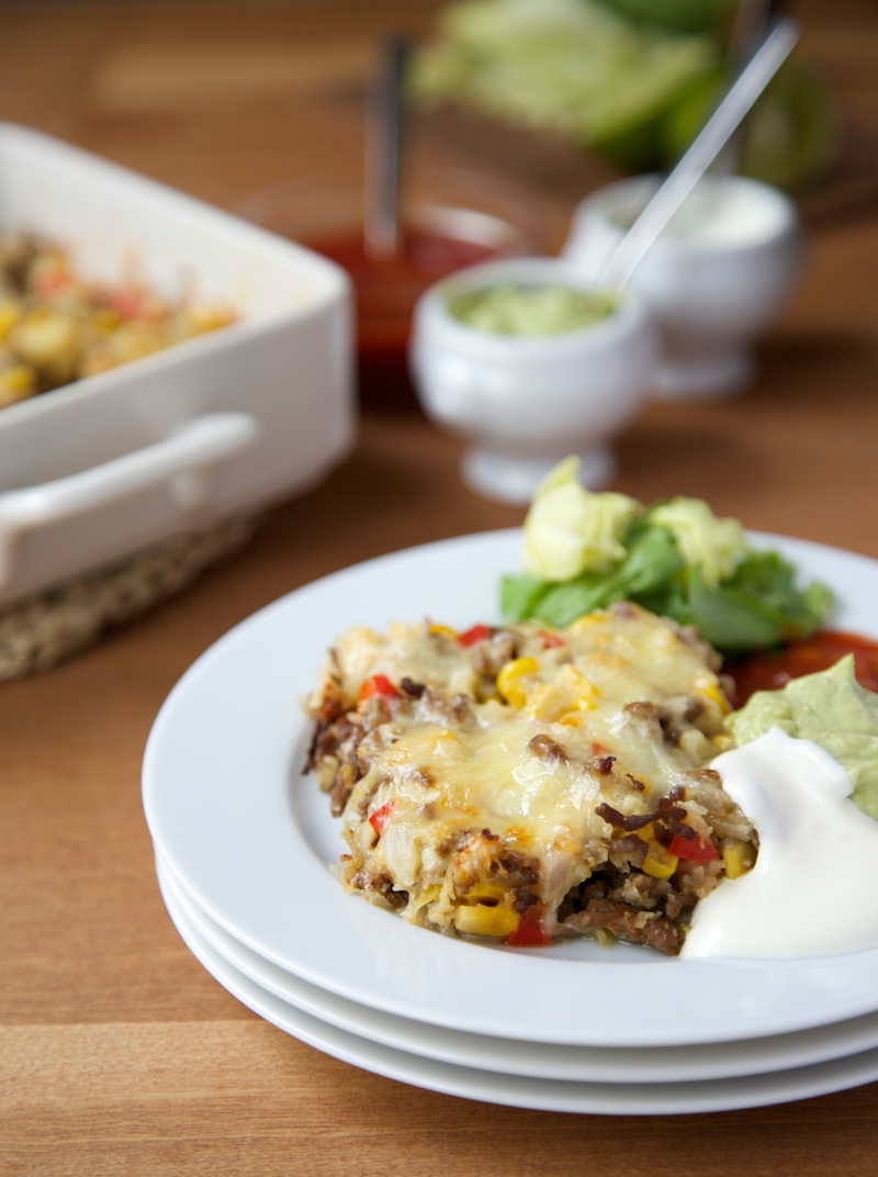 Taco Casserole with homemade Salsa and Guacamole