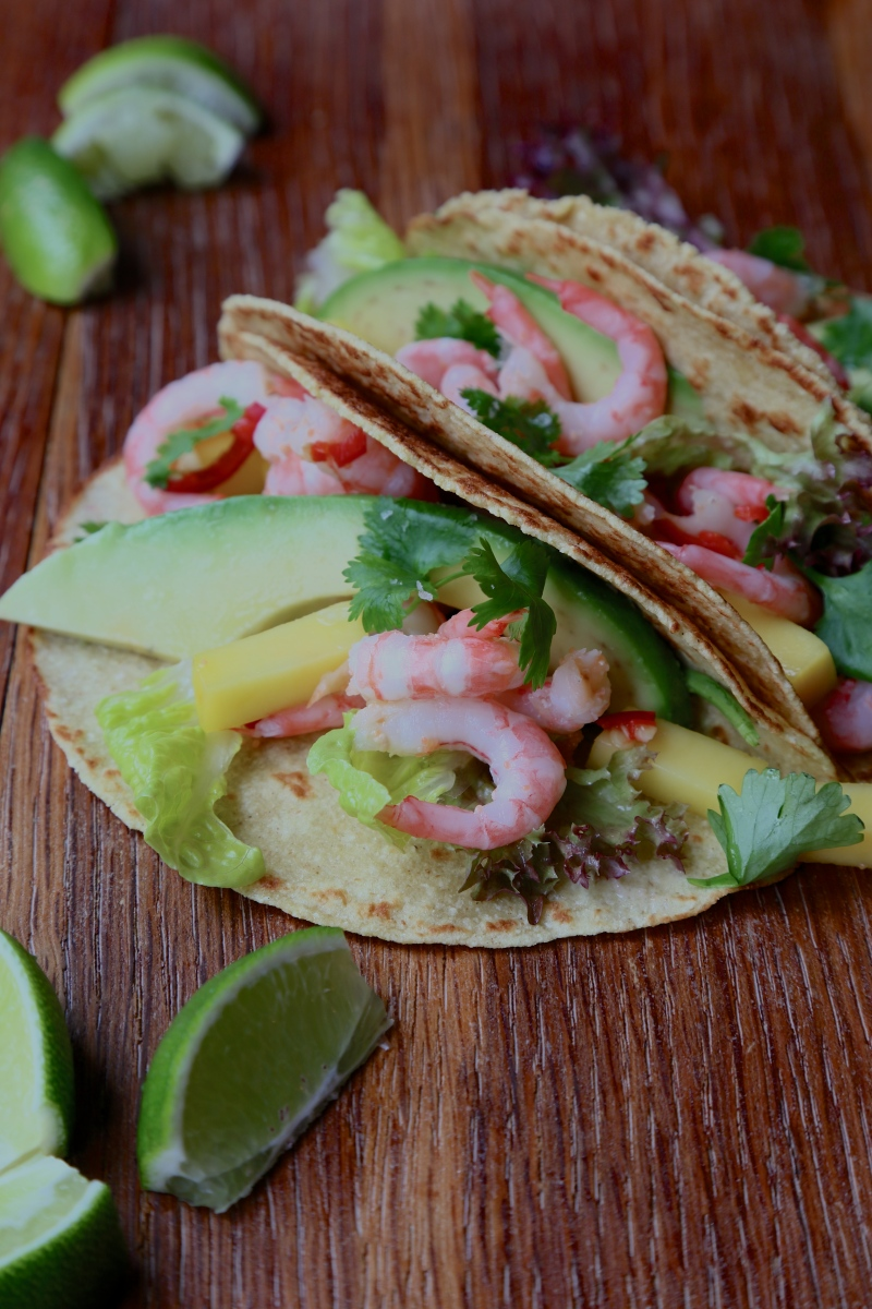 Mango, shrimp and avocado soft tacos