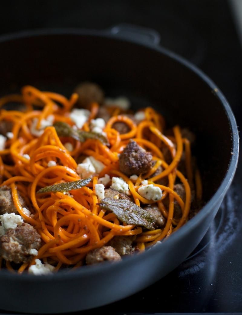 Butternut squash spaghetti with feta cheese meatballs and sage