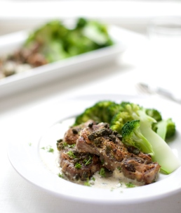 Pork neck steaks with capers and Dijon cream sauce and broccoli
