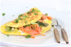 Omelet with asparagus and smoked salmon