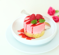 Mini Raspberry Mousse Cakes with Lemon Sponge. Low-carb, Sugar- Flour- and Gluten Free