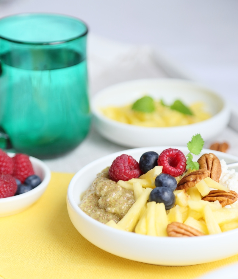 Pineapple Chia Breakfast Bowl with Cottage Cheese